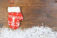 Advent calendar with mittens on wooden background Royalty Free Stock Image
