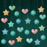 Advent Calendar with numbers, hanging. Illustration of an hanging advent calendar with numbers Royalty Free Stock Image