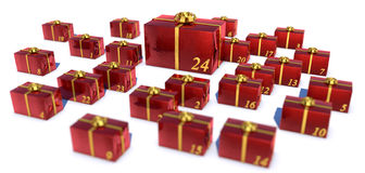 Advent calendar. Presents in red gift wrap paper as advent calendar on white background Stock Images