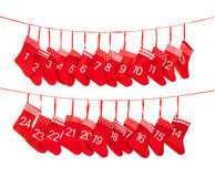 Advent calendar 1-24. Red christmas stocking decoration Stock Images