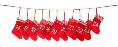 Advent calendar 14-24. Red christmas stocking decoration Royalty Free Stock Photos