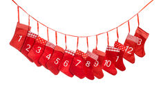 Advent calendar. Red christmas stocking Royalty Free Stock Photo