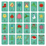 Advent calendar. Retro Christmas, winter and New Year symbols. Hand drawing style. Doodles vector poster. Stock Photos