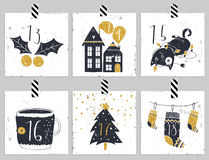 Advent calendar.Six days of christmas. Stock Images