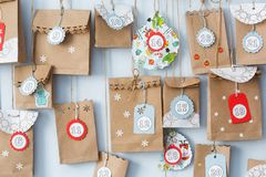 Advent calendar with small gifts close up royalty free stock image