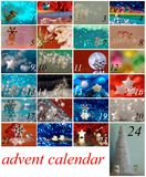 Advent calendar with stars, Santa Claus and Christmas tree Stock Images