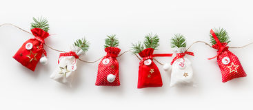 Advent calendar stuffed sachets in a row Stock Photography