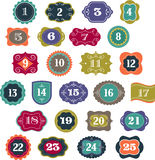 Advent Calendar - Tags, Aufkleber, Elemente Lizenzfreie Stockbilder