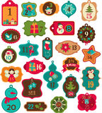 Advent Calendar - tags, labels,elements Stock Photos