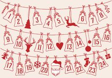 Free Advent Calendar With Christmas Bags, Vector Set Stock Photo - 101053000