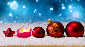 Advent candle and red Christmas balls . royalty free illustration
