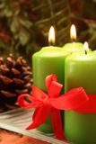 Advent candles. Four christmas candles and decorations Stock Images