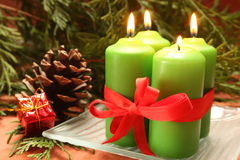 Advent candles. Four christmas candles and decorations Royalty Free Stock Image