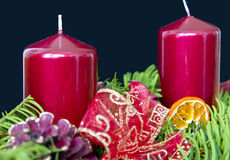 Advent candles. Red advent candles on needles Stock Image