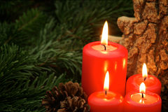Advent candles. Four red holiday candles with wood, branches and pine cone Royalty Free Stock Photo