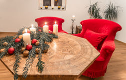 Advent candles with decorated fir tree on a ancient table Royalty Free Stock Photo