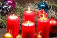 Advent candles. With fir green and Christmas decoration Stock Images