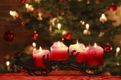 Advent Candles in Front of Christmas Tree Royalty Free Stock Photos