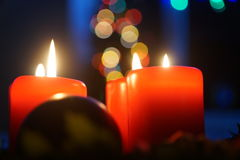 Advent candles and lights. 4 advent candles royalty free stock photography