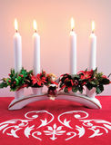 Advent candlestick. With angel figurine Royalty Free Stock Images