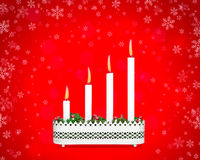 Advent candlestick with four burning candles. Advent candlestick fourth Sunday of Advent on red background with snowflakes stock illustration