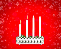 Advent candlestick with two burning candles. Stock Photography