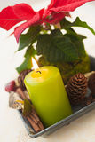 Advent Christmas decoration with burning candle Royalty Free Stock Photo