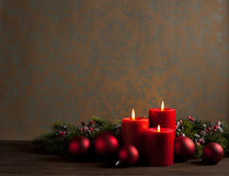 Advent Christmas wreath. In front of dark moody background stock photo