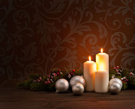 Advent Christmas wreath. In front of dark moody background stock image