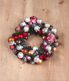 Advent Christmas wreath on wooden door decoration Royalty Free Stock Photography