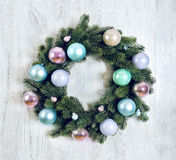 Advent Christmas wreath on wooden door decoration Stock Images
