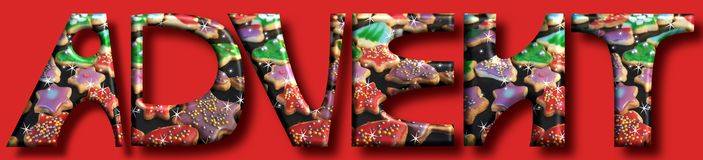 Advent is coming...big letters and cookies on a christmas background royalty free illustration
