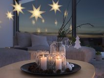 3d rendering. home with christmastree in modern apartment. 2. advent. 2. advent decoration in an christmas interior. 3d rendering Royalty Free Stock Photos