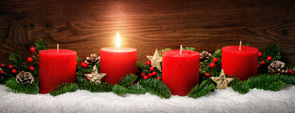 Advent decoration with one burning candle Royalty Free Stock Photography