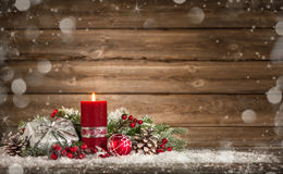 Advent decoration with one burning candle. On wooden board. Christmas background Royalty Free Stock Photos