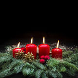 Advent decoration red burning candles christmas tree black Stock Image