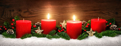 Advent decoration with two burning candles Royalty Free Stock Photography