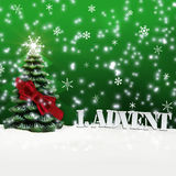 1. Advent - gifts - green - Snow. Christmas royalty free illustration