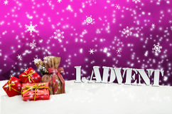 1. Advent - gifts - pink - Snow. Christmas Royalty Free Stock Images