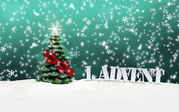 1. Advent - gifts - turquoise - Snow. Christmas Royalty Free Stock Images