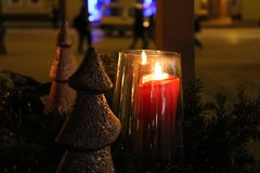 Advent`s candel with wood Christmas tree royalty free stock photos
