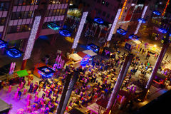 Advent In Maribor, Slovenia. Arial view of christmas decoration and stalls with mulled wine on modern Leon Stukelj Sqare In Maribor, Slovenia Stock Photos