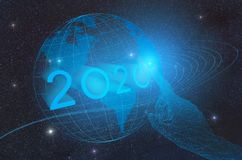 The advent of the new technological year 2020 on the planet Earth in outer space, conceptual representation of pressing the button. With the hand of artificial royalty free illustration