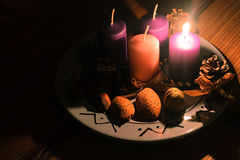 Advent plate. With candles, first sunday Stock Photography