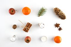 OVERHEAD RUSTIC HOMEMADE ADVENT DECORATION. MERRY CHRISTMAS ORNAMENTS ON WHITE BACKGROUND. ADVENT PREPARATION. MERRY CHRISTMAS BACKGROUND. RUSTIC STILL LIFE stock images