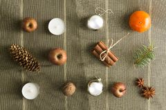 OVERHEAD RUSTIC HOMEMADE ADVENT DECORATION. MERRY CHRISTMAS ORNAMENTS BACKGROUND. ADVENT PREPARATION. MERRY CHRISTMAS BACKGROUND. RUSTIC STILL LIFE. HOMAMADE stock photo