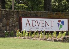 Advent Presbyterian Church Sign Memphis, TN Stockbilder
