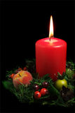 Red Candle with Christmas Decoration Royalty Free Stock Photos