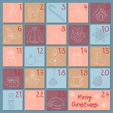 Advent retro style calendar. Sketch Christmas, winter and New Year symbols. Hand drawing style. Manually drawn vector Royalty Free Stock Photography