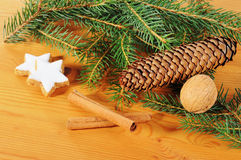 Advent season decoration with fir tree branch Stock Photos